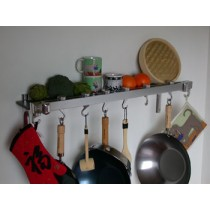 Track Rack 36'' Wall Pot Rack, Chrome