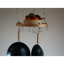 Track Rack Round 17'' Ceiling Pot Rack, Natural Wood