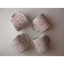 Red Daytime Animates Mug Set (4/set)