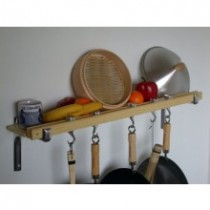 Track Rack 36'' Wall Pot Rack, Natural Bamboo