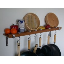 Track Rack 36'' Wall Pot Rack, Burnished Bamboo