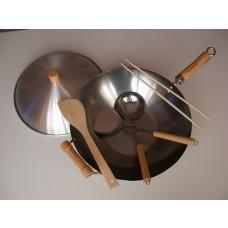 "6-Piece 14""  Carbon Steel Flat Bottom Wok Set"