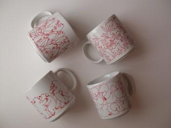Red Daytime Animates Mug Set (4/set)