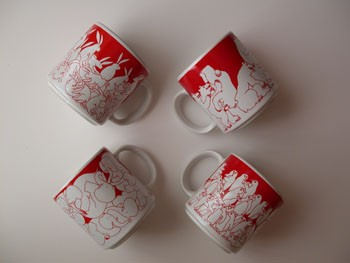 Red Nitetime Animates Mug Set (4/set)