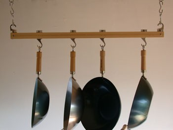 Track Rack 36'' Ceiling Pot Rack, Natural Bamboo