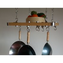 Track Rack European 24'' x 20'' Ceiling Pot Rack, Natural Wood