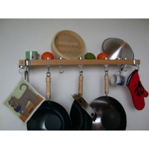 Track Rack 36'' Wall Pot Rack, Natural Wood